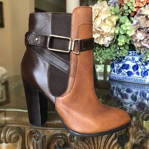 Aldo Ankle Boots, Brown & Tan 2 Tone Leather